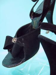 Vintage 50s Black Leather Peep Toe Sling Backs with Rhinestones 7.5 8 N