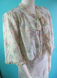 Vintage 30s 40s Bias Cut Gown with Bed Jacket Spring Bouquet Floral Print B36 S M