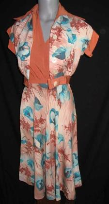 vintage 40's rayon halter dress