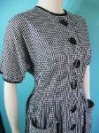 vintage1950's black and white gingham day dress