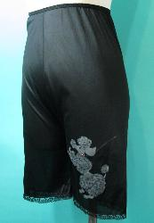 SALE Vintage 50s Black Petti Pants Long Leg Panties with Gray Poodle S W22 to 26