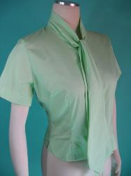 Vintage 1960's Mint Green Polished Cotton Judy Bond Blouse Shirt Bust 36