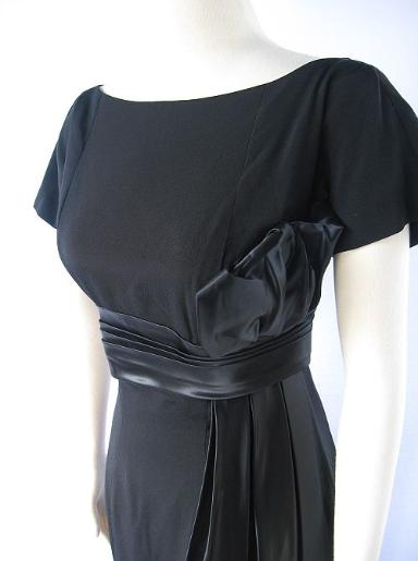 Vintage 50's Gigi Young Cocktail Dress Evening Gown Black Crepe Silk B36