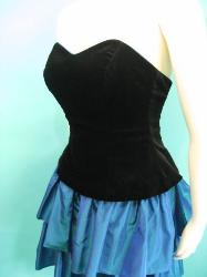 Vintage 80s Dress Laura Ashley Black Velvet Strapless prom cocktail dress