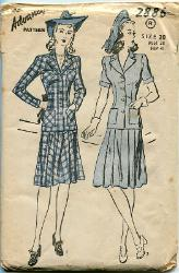 Vintage 40s Suit Pattern Boxy Long Torso Pleated Skirt Noir Era Advance 2886 BUST 38