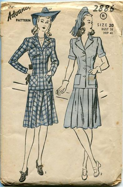 vintage sewing pattern 1940s suit