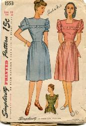 1553 Vintage 40s Pattern Great Swing Look Pinafore Dress with Puff Sleeves B32