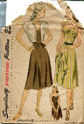 Vintage 1940's Sun Dress Pattern Strapless with Bolero B 30 Simplicity 1975