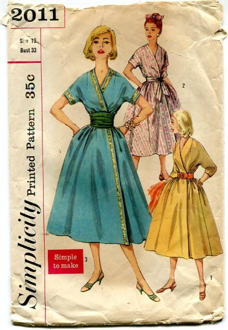 Vintage Simplicity 2011 1950s Wrap Dress Full Skirt Bust 33
