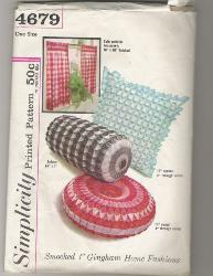 Vintage 60's Simplicity Puff Smocked Gingham Pillows and Curtains 4679