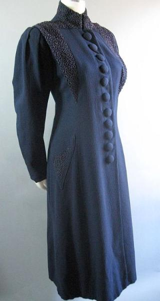 vintage 1930's navy wool edwardian style coat