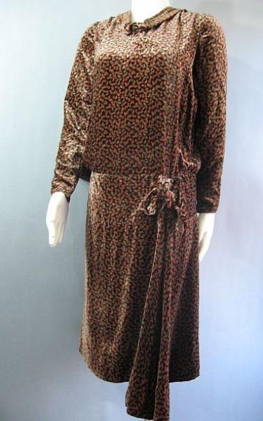 Vintage 20s Silk Velvet Flapper Dress with Drop Waist and Side Drape B36 38
